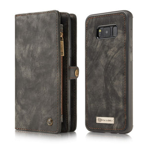 Luxury Retro Fashion Genuine Leather Anti-knock Mobile Phone Flip Covers with Card Pocket for Galaxy