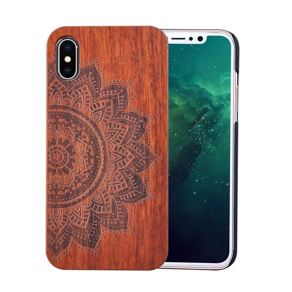 Natural wooden case with flower embossing pattern, phone covers for Iphone X