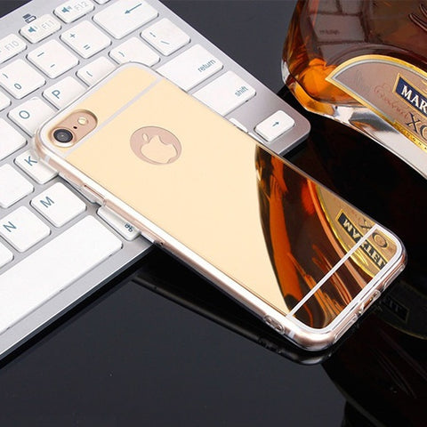 Luxury Mirror Soft TPU Phone Case Ha on For iPhone 5 5S 6 6S 7 Plus 7Plus 6Plus 4 4S SE Cases Light Back Covers  Phone Protector