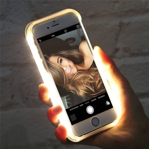 Luxury Luminous LED Flash Light Dirt-resistant Fitted Glowing Selfie Phone Case for iPhone