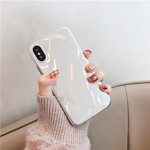 Crystal Plating Shiny Mirror Pattern Girl Style Dirt-Resistant Silicone Phone Cases for iPhone