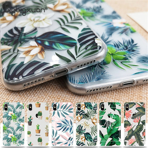 Beautiful Floral Retro Leave Soft TPU Silicon Water Stain Mobile Back Cover Phone Case for iPhone 8