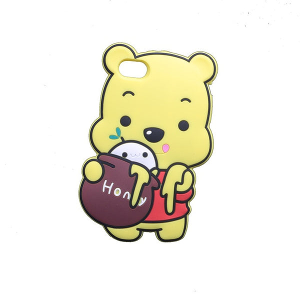 Winnie the Pooh With a Jar of Honey Cartoon Soft Silicone Covers For iPhone XS
