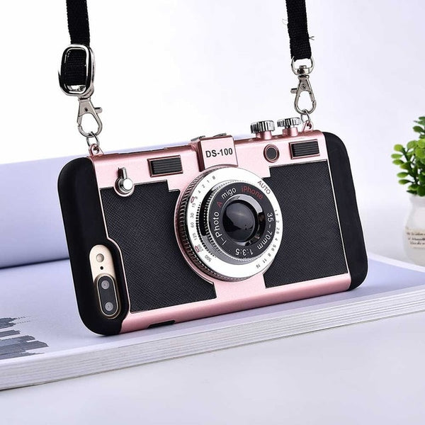 3d retro camera phone cover for iPhone XS, Cool soft silicone cover with lanyard