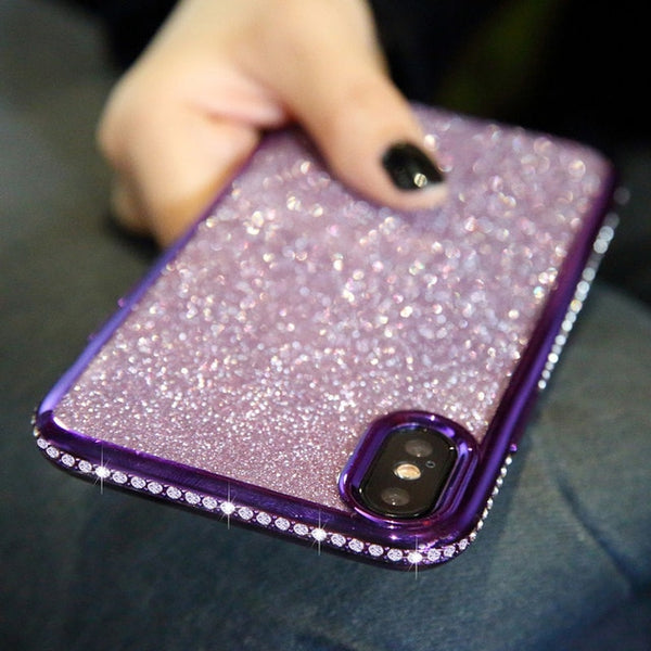 Shockproof Anti-Shock Scratchproof Anti-Scratch Rhinestone Glitter Edge Silicone TPU iPhone Back Cover