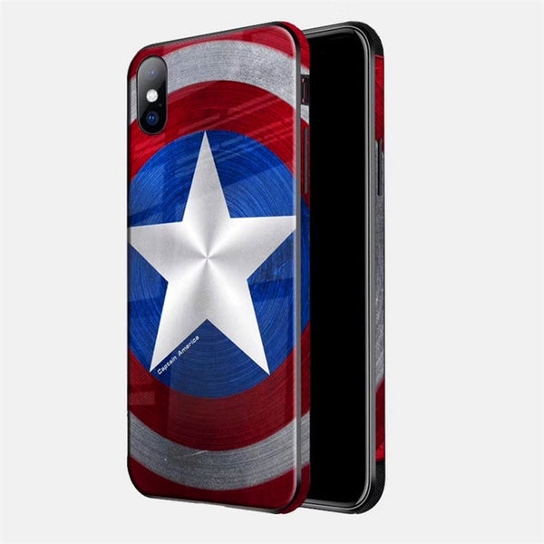 Marvel Avengers Superhero Batman Captain America Case For iPhone XS MAX Glass material Phone Covers