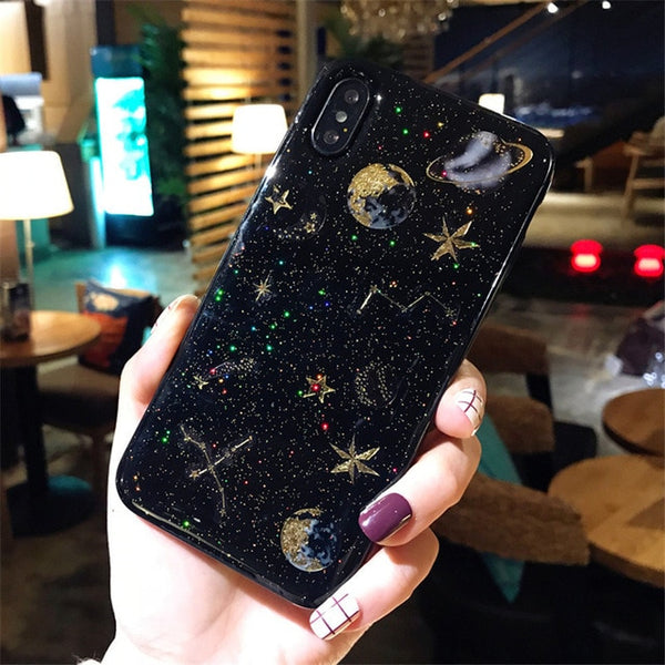 Blingy Sparkly Glittery Galaxy Design Transparent Anti-Knock Dirt Resistant Phone Case for iPhone