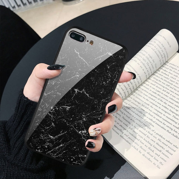 Pretty Anti-Knock Dirt Resistant Shock Proof Tempered Glass Marble Phone Case for iPhone