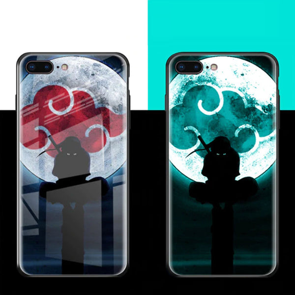 Luminous Phone Case For iPhone XS Max 6 6s Plus 7 Plus 8 Plus Tempered Glass LED Covers For iPhone XR 8 Comic Naruto Glowing Coque