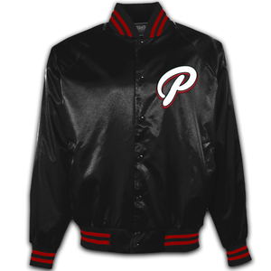 "Satin Baseball Jacket - Black - ""P"""