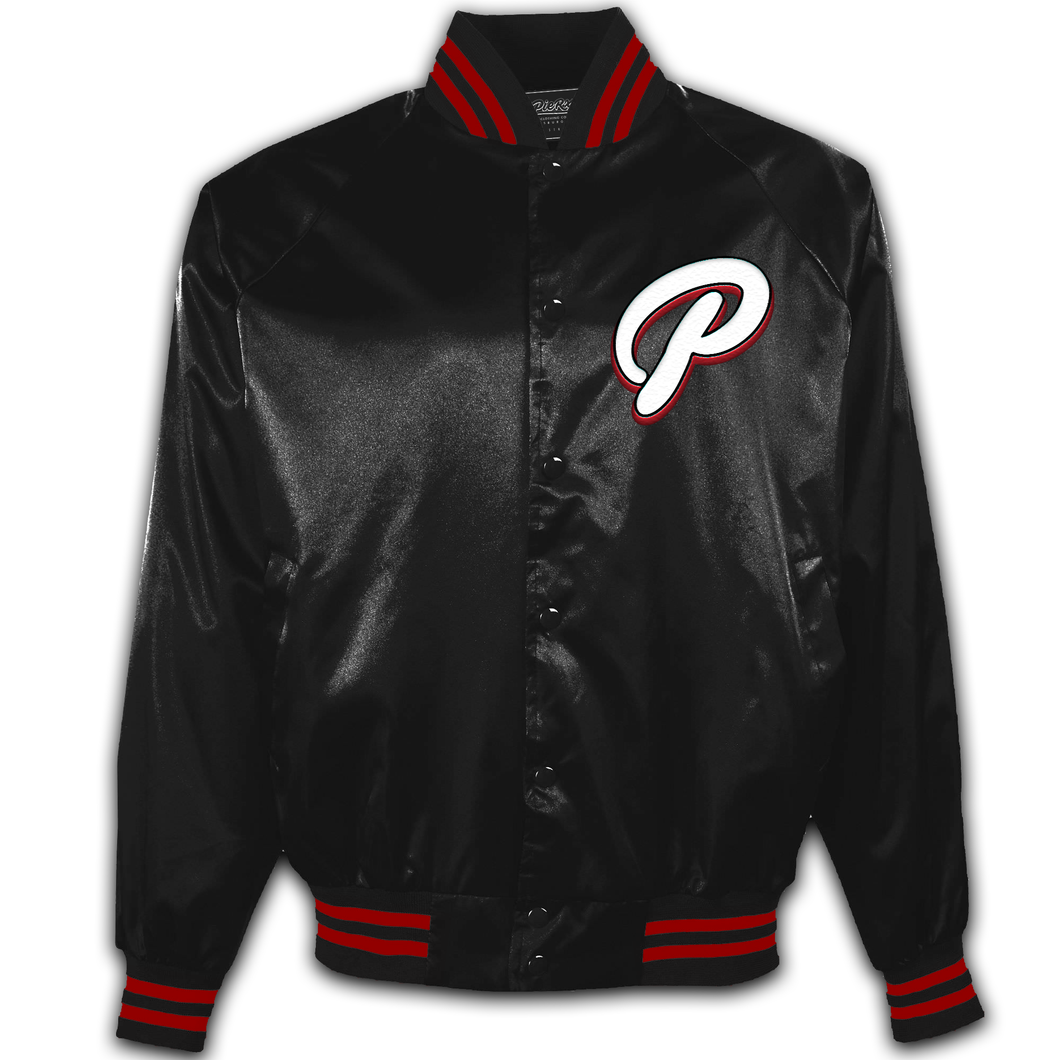 Satin Baseball Jacket - Black -