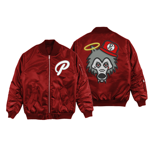 **PRE-ORDER** Bomber Jacket - Red Satin Wolf