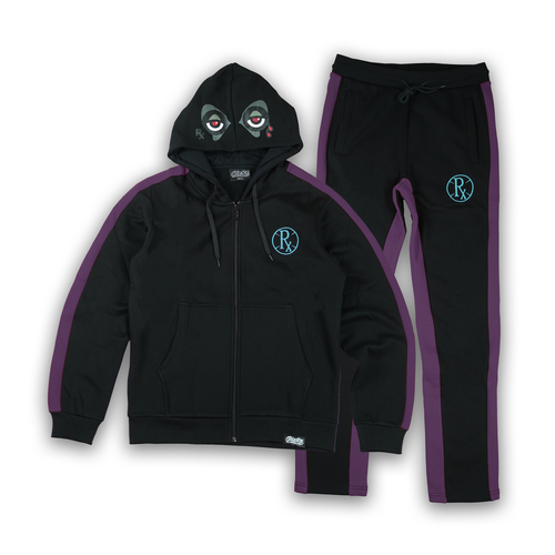 Stripe Rx Wolf Eyes Sweat Suit - Black Grape Ice