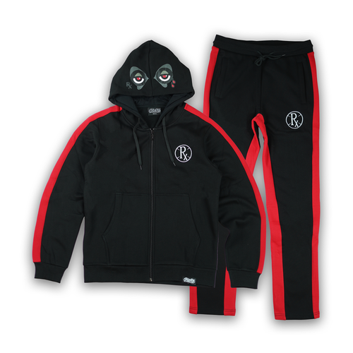 Stripe Rx Wolf Eyes Sweat Suit - Black/Red
