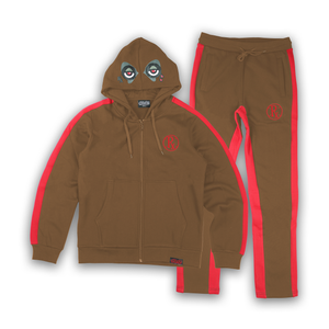 Stripe Rx Wolf Eyes Sweat Suit - Brown/Red