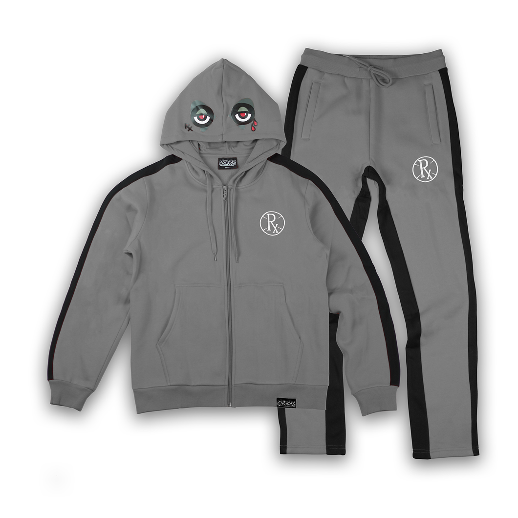 Stripe Rx Wolf Eyes Sweat Suit - Gray/Black