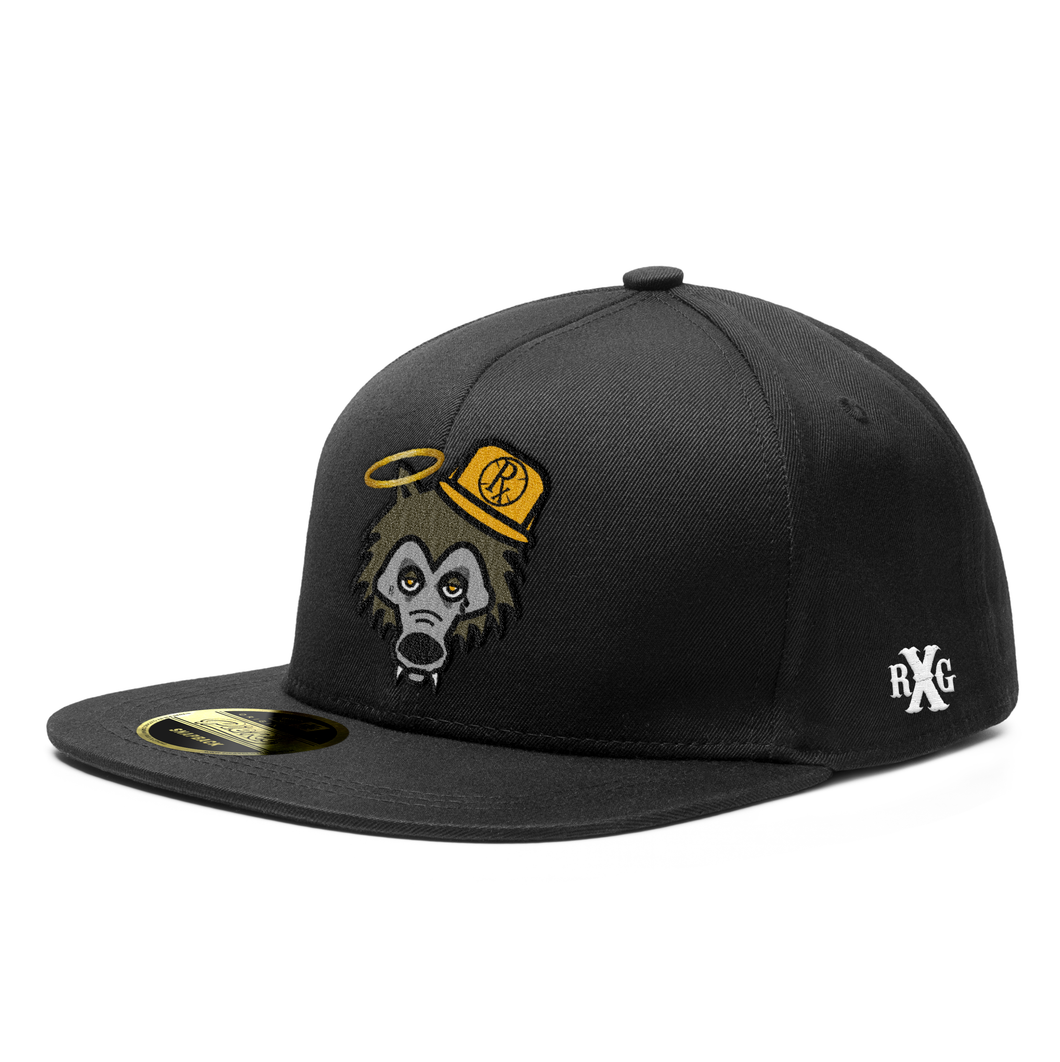 Snapback Hat - RxG Wolf w Yellow Hat - Black