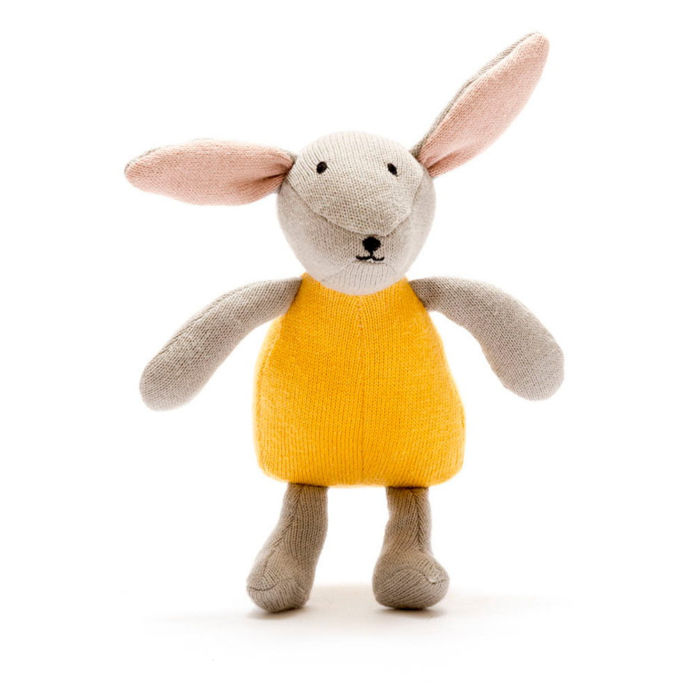 Organic Knitted Bunny Soft Toy - Mustard