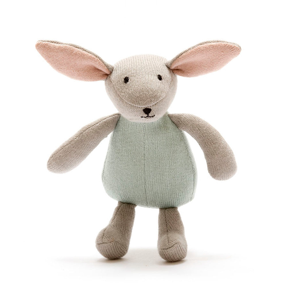 Organic Knitted Bunny Soft Toy - Teal