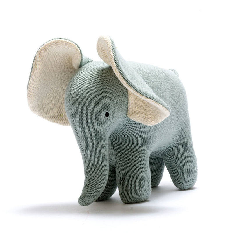 Organic Knitted Elephant Soft Toy - Teal - Large