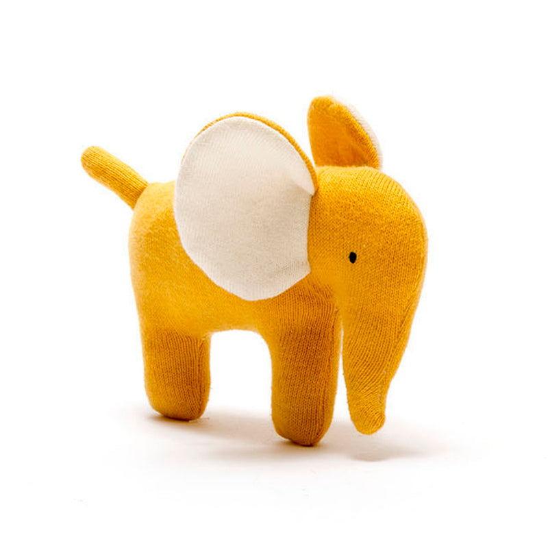 Organic Knitted Elephant Soft Toy - Mustard - Small