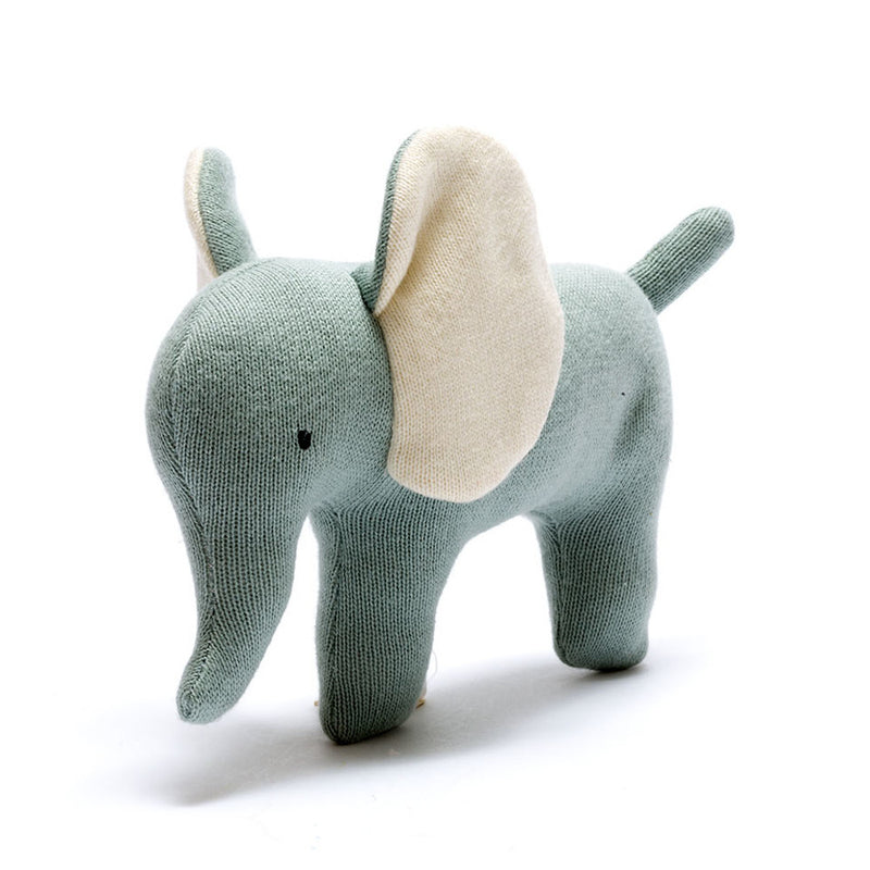 Organic Knitted Elephant Soft Toy - Teal - Small