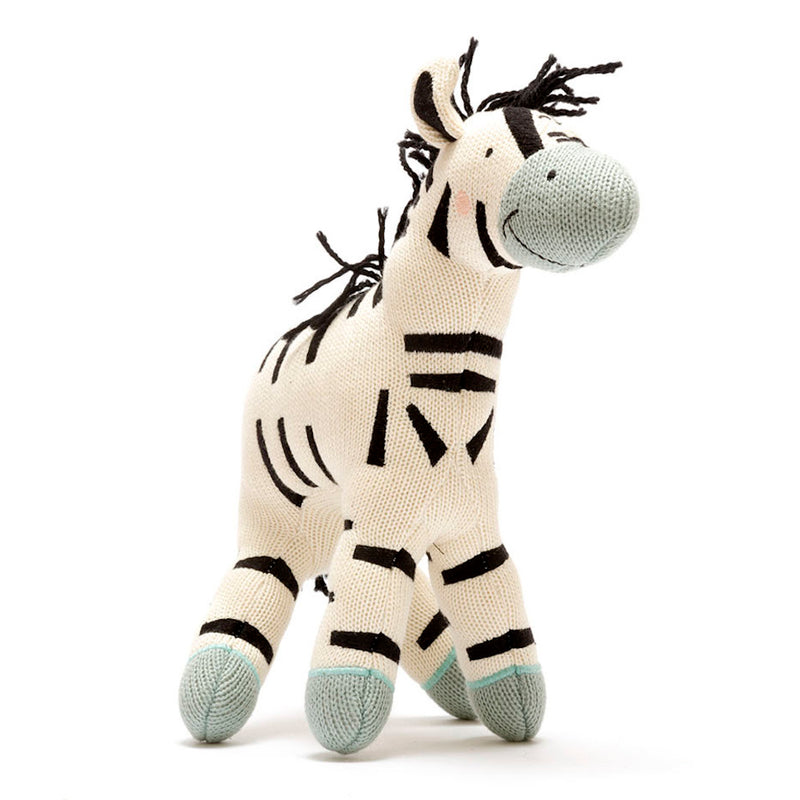 Organic Knitted Zebra Soft Toy - Large