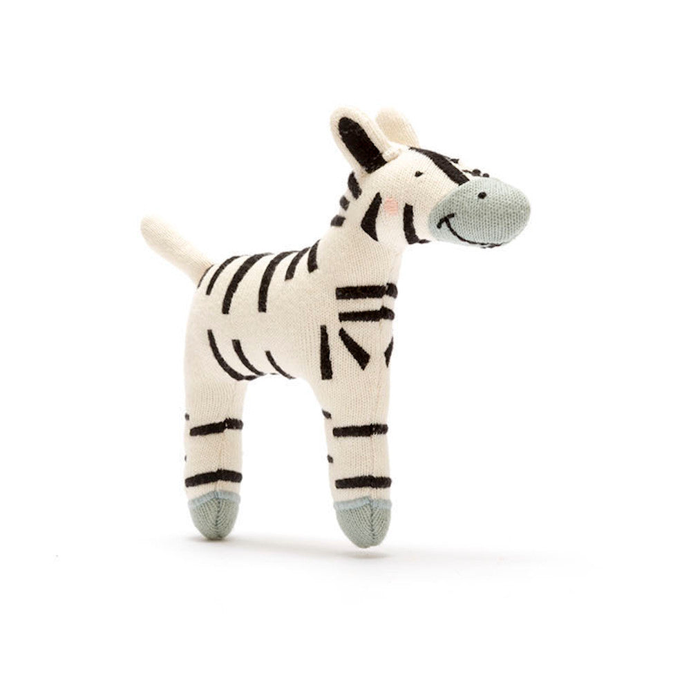 Organic Knitted Zebra Soft Toy - Small