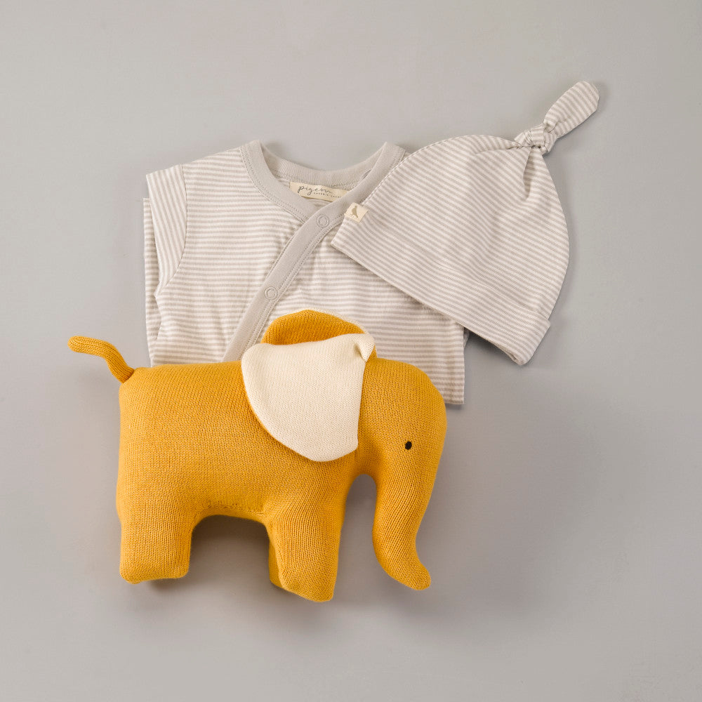 Organic Knitted Elephant Soft Toy - Mustard - Large