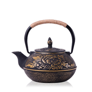 Authentic Cast Iron Floral Japanese Teapot