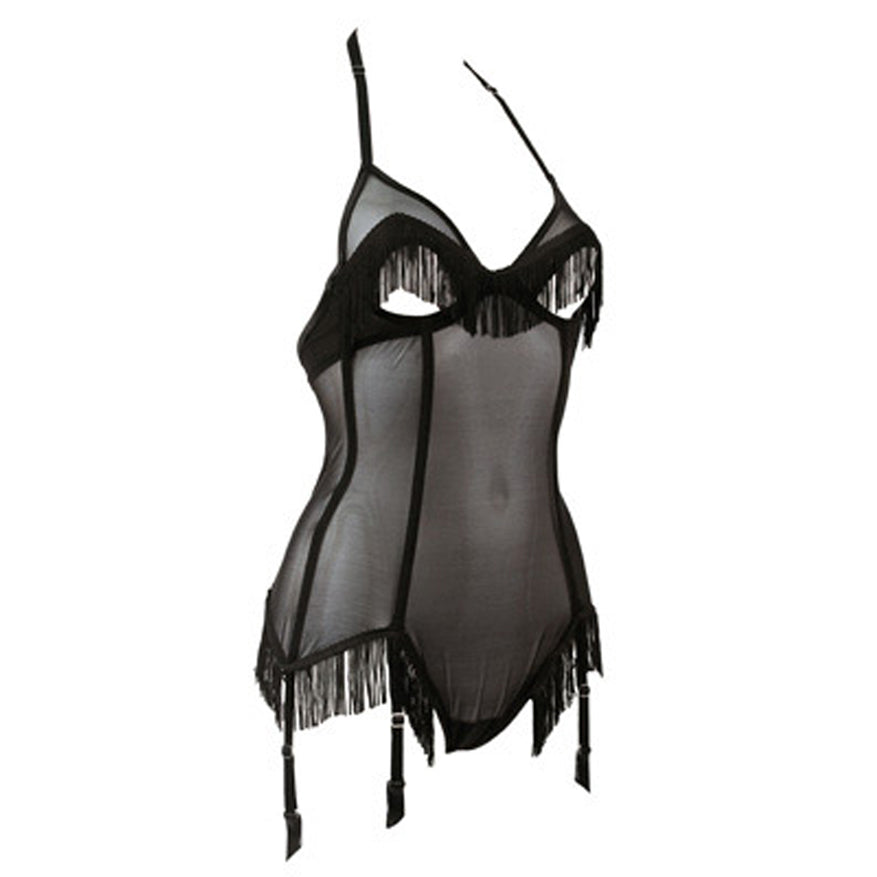 Lascivious Roxy Peek-a-boo Cut-out Tassel Bodysuit - Sexy-Lingerie