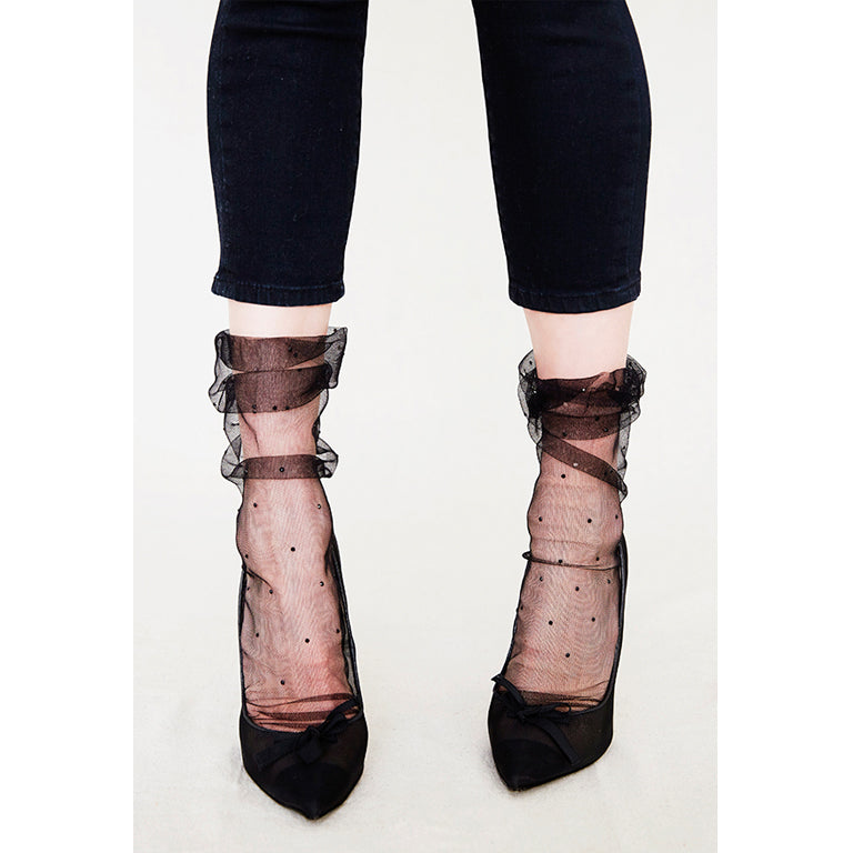 Sparkle Plumetis Superfine Tulle Socks | Black/Jet