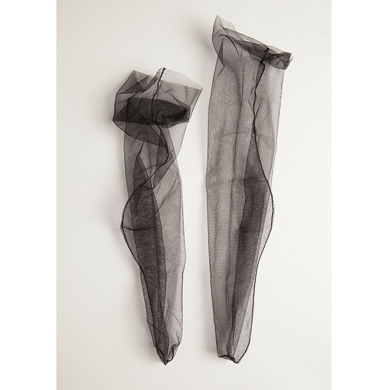 Superfine Tulle Socks | Black/Black