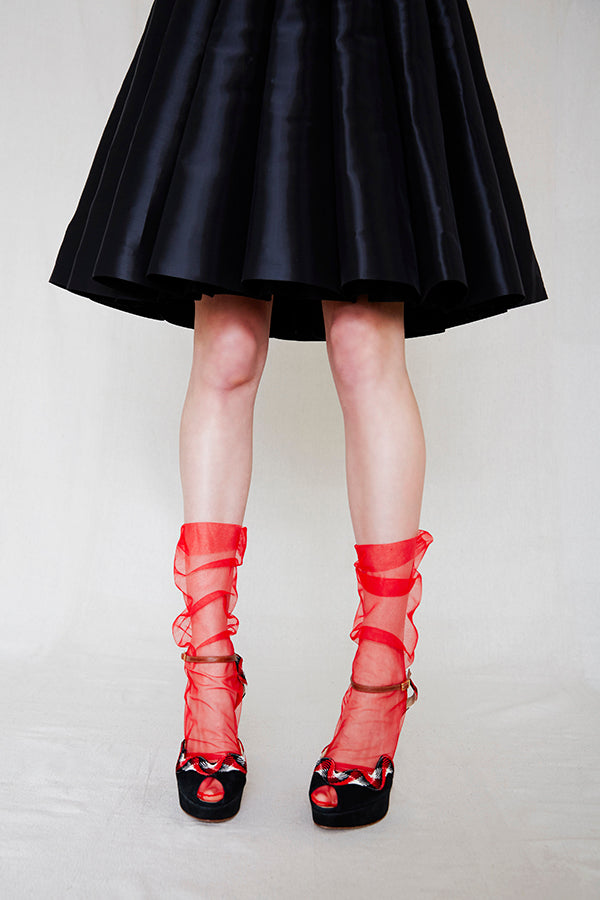 Italian Tulle Socks | Red
