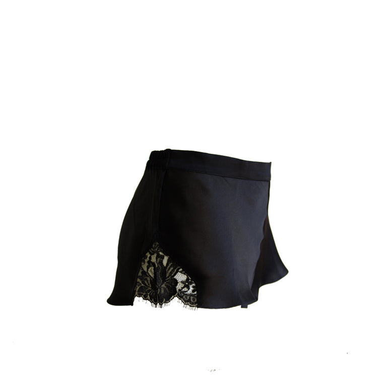Black Silk & Lace French Knickers