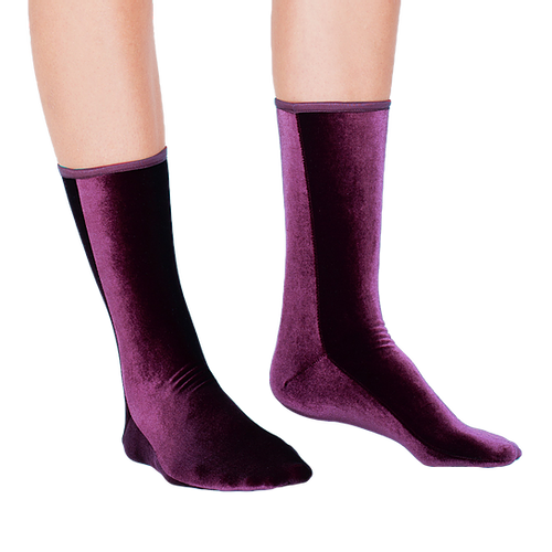 Velvet Ankle Socks | Plum