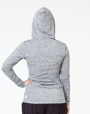 back view of a pregnant mom wearing a gray breastfeeding hoodie with the hood up