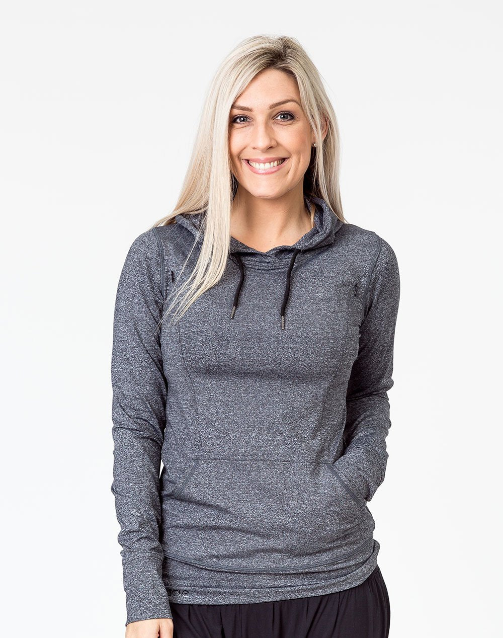 front view of an active mom wearing a gray activewear breastfeeding hoodie