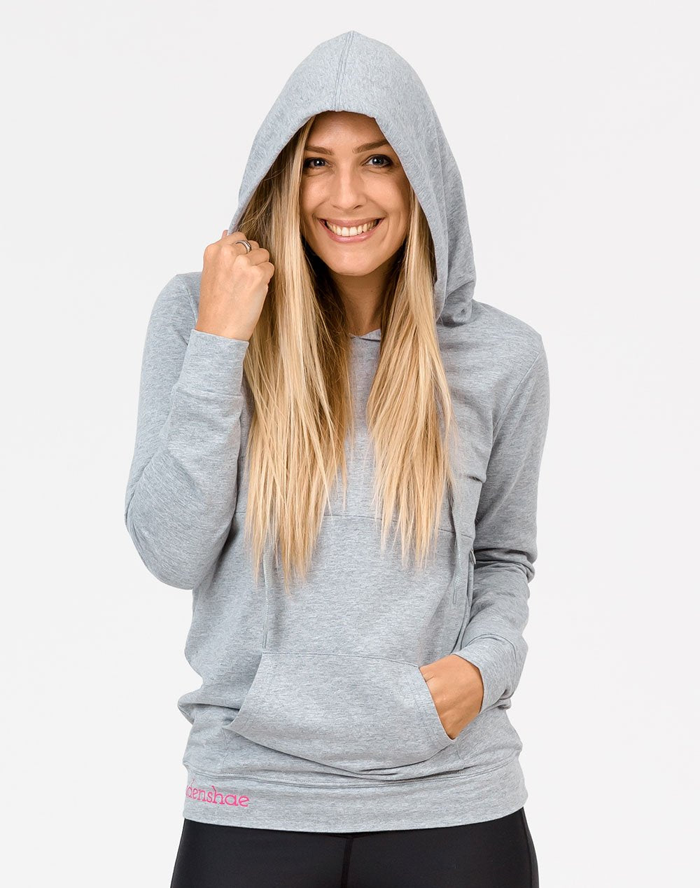 front view active mom wearing a gray casual breastfeeding hoodie with the hood up