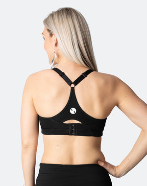 black racerback sports bra