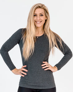 Maternity Top - Bamboo Long Sleeve Gray
