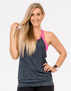 active mom wearing a gray and pink breastfeeding top loose fit tank