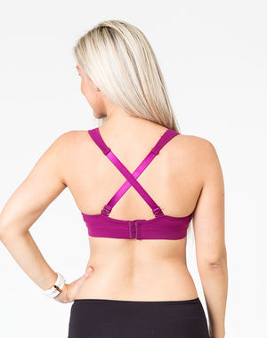 plum playtime bra front view with mom unclipping one dropdown cup to breastfeed