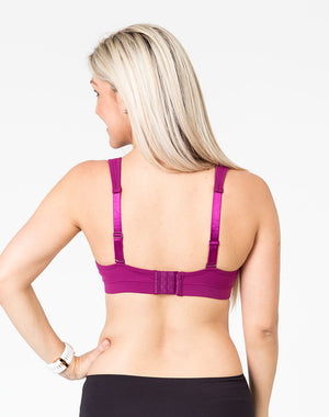 pregnant mom wearing a plum playtime bra back view with option to wear as a normal bra