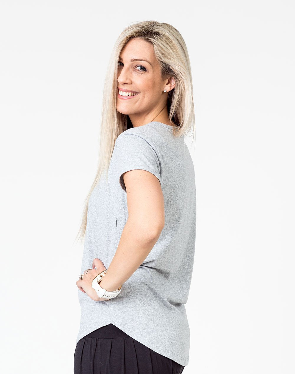 side on view of a gray scoop breastfeeding t-shirt
