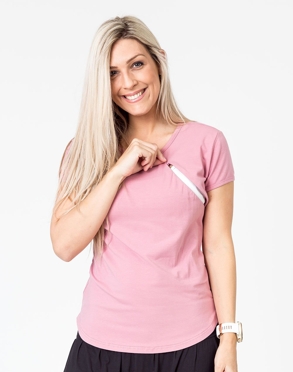 pink scoop breastfeeding t-shirt with invisible zip unzipped