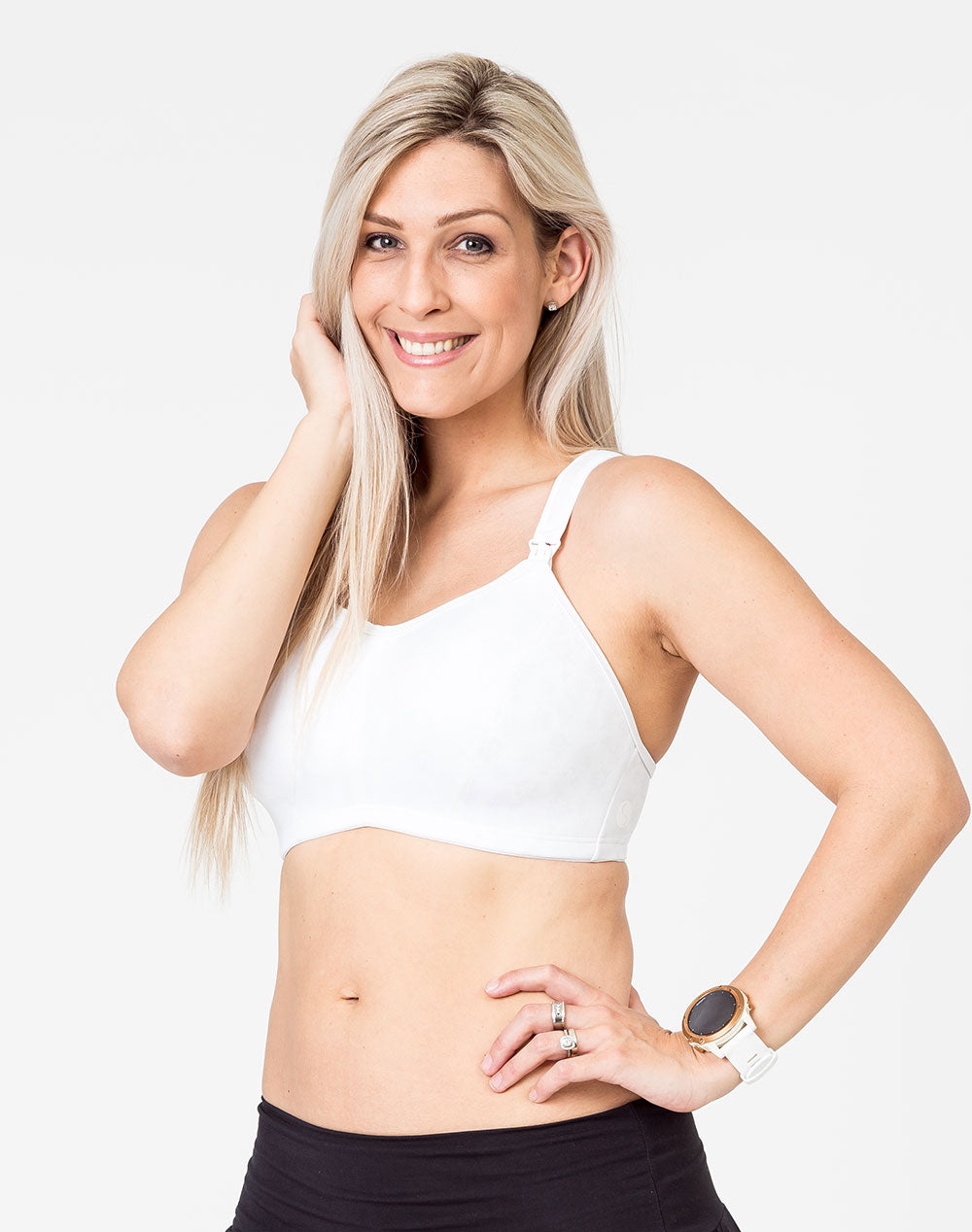 active mum wearing a custom print nursing sports bra