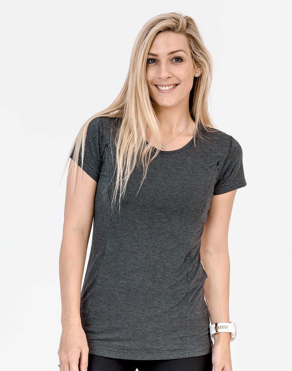 active mom wearing a gray breastfeeding t-shirt