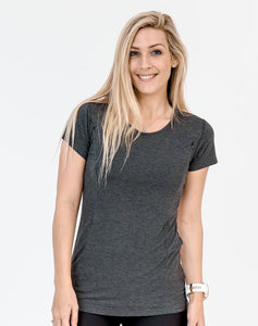 Breastfeeding T-Shirt - Bamboo Workout Tee Gray