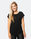 active happy mum wearing a relaxed fit black tee with wide armholes for breastfeeding